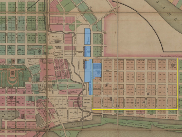 This map from 1835, drawn using various survey maps from Richmonds history, identifies the original town plan, highlighted here in Yellow (Bates 1835)