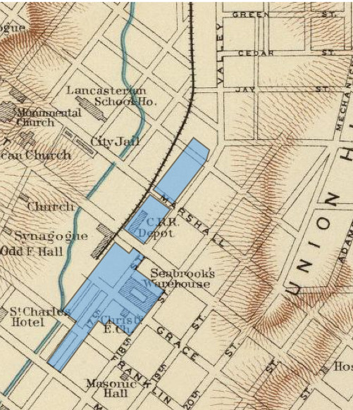 In this map of 1865, Seabrooks and Christs Church are both labeled on Grace Street (Defense of Washington 1895)