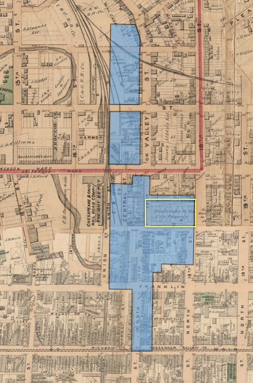 Seabrooks Warehouse is marked in Yellow on this map from 1876 (Beers 1876).
