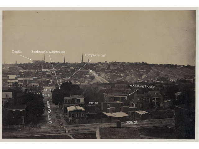 This photograph taken in 1865 shows the view of Shockoe Bottom from Church Hill, directly down Franklin Street (Richmond from Oregon Hill 1865)